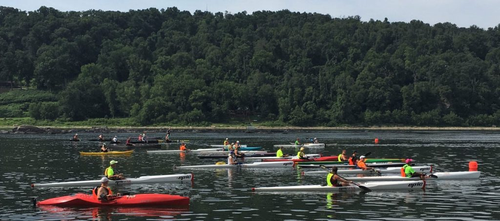 Flatwater Challenge kayakers on the river